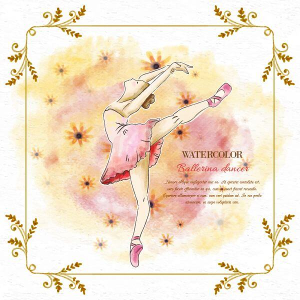 Watercolor ballerina dancer vector