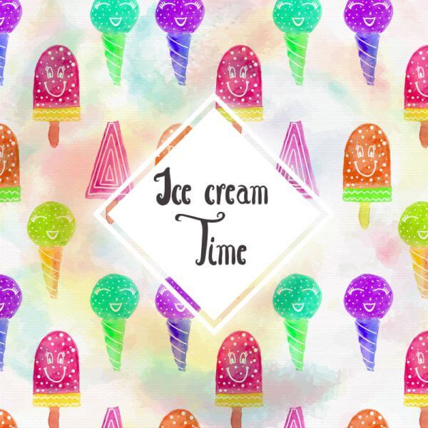 Watercolor Ice cream background vector