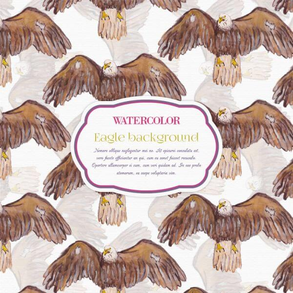 Watercolor eagle background vector