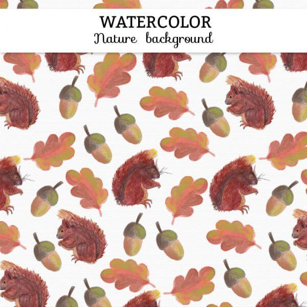 Watercolor autumn background vector