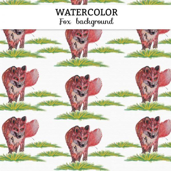 Watercolor fox background vector