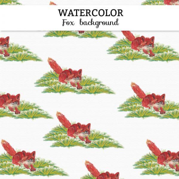Watercolor fox background vector