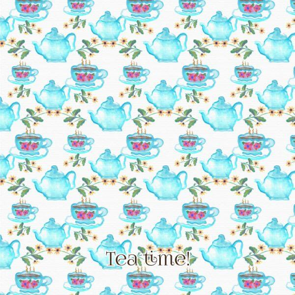 Watercolor tea pattern vector