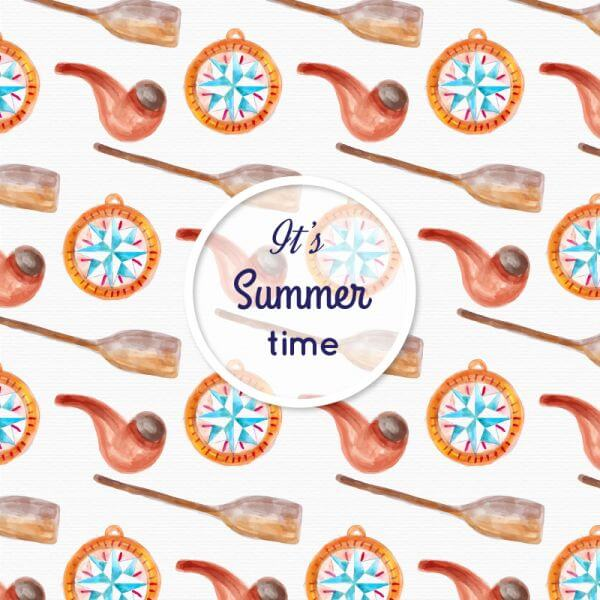 Watercolor summer pattern vector