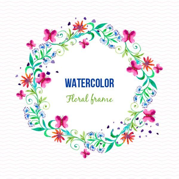 Watercolor floral frame with butterflies vector