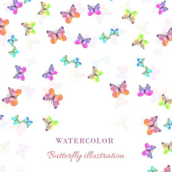 Watercolor illustration with butterflies vector