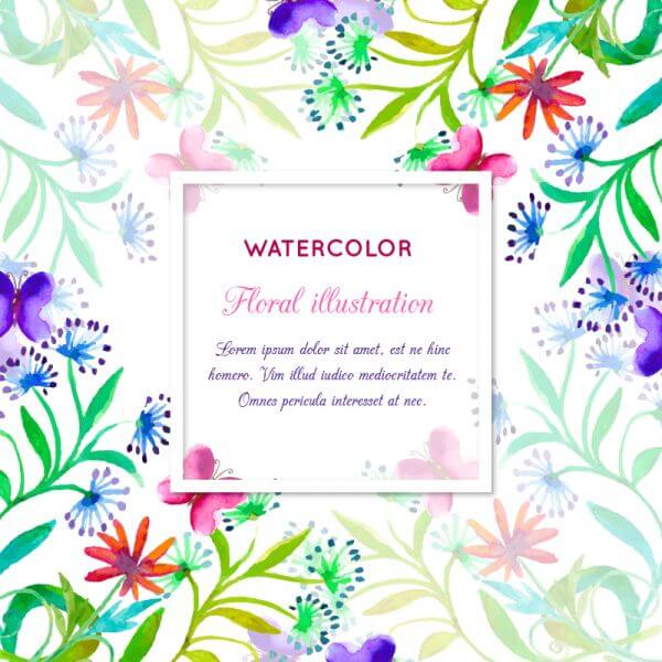 Watercolor invitation with floral frame vector