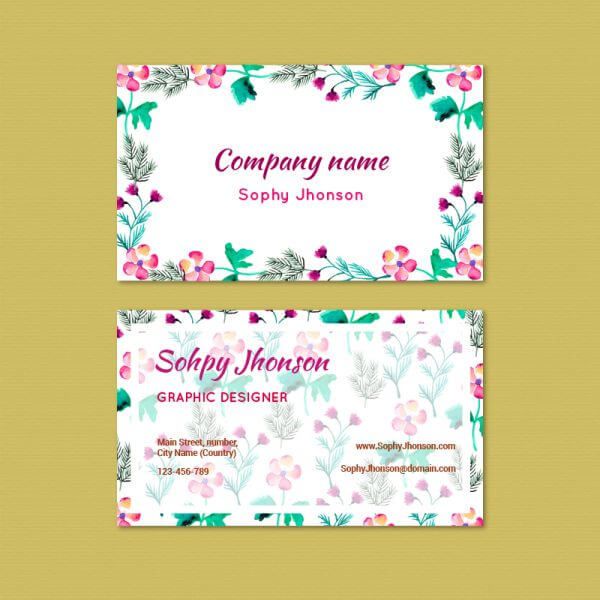 Watercolor business card with flowers vector