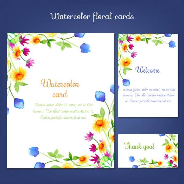 Watercolor cards with summer flower vector