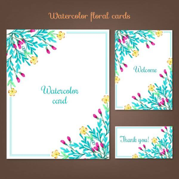 Watercolor cards with summer flowers vector