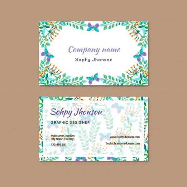 Watercolor business card with flower vector
