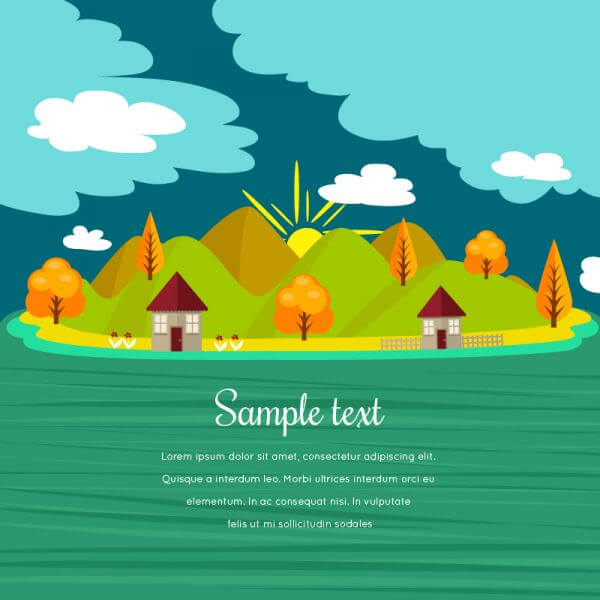 Summer illustration with mountain landscape vector