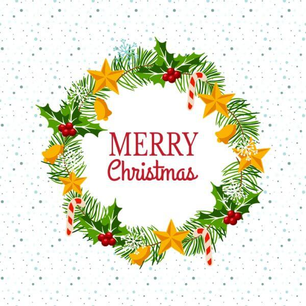 Christmas wreath on snowy background vector