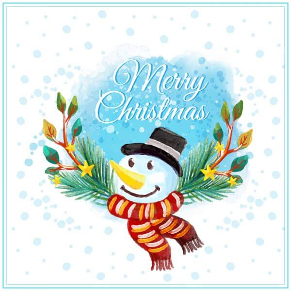 Watercolor Christmas illustration with snowman  vector