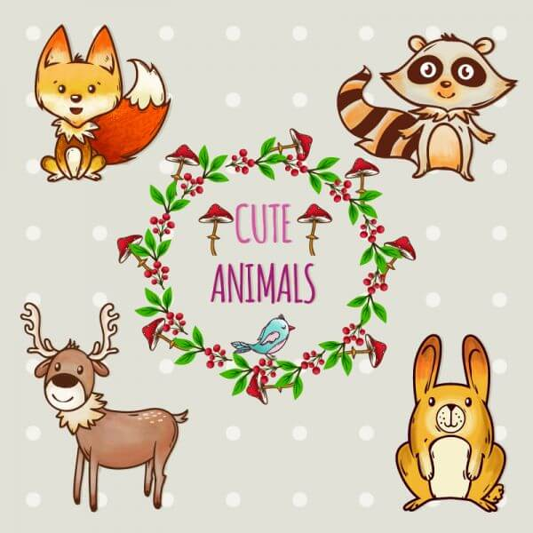 Cute set of animals with frame vector