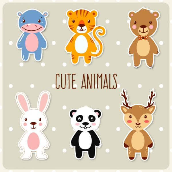 Cute set of animals vector
