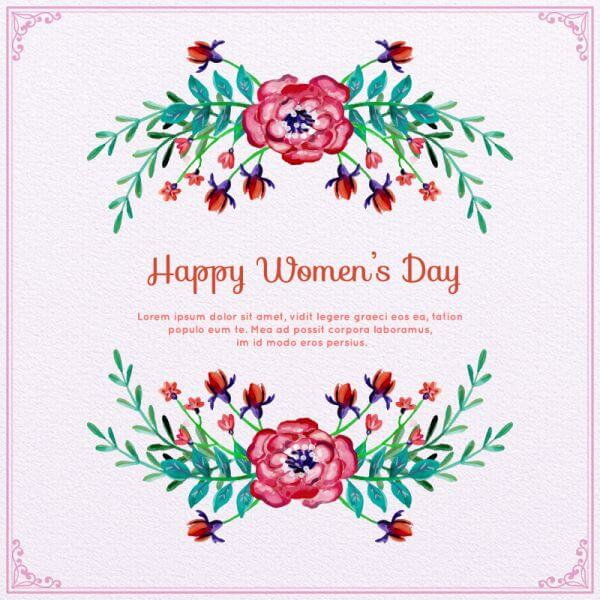 Watercolor Women's Day Floral Frame  vector