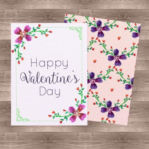 Watercolor Valentine'Day Cards vector