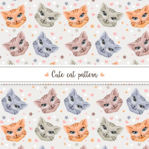 Cute cat pattern vector