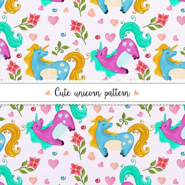 Watercolor unicorn pattern vector