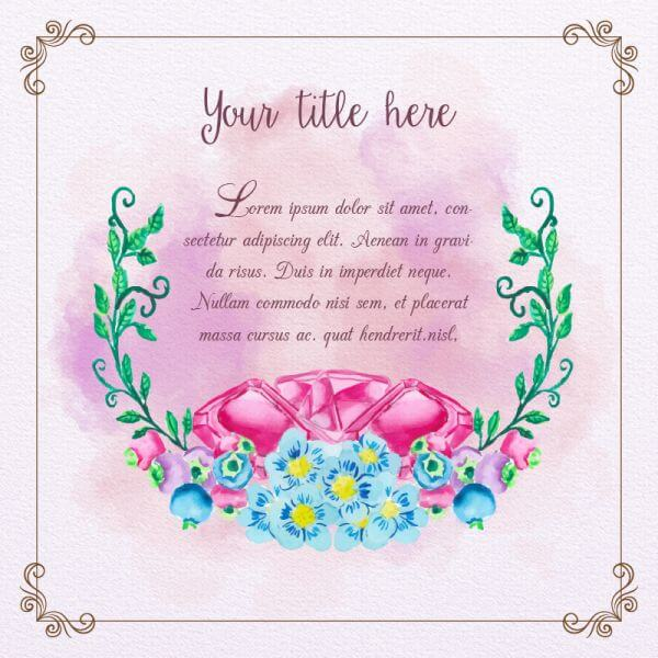 Cute watercolor frame with diamonds and flowers vector
