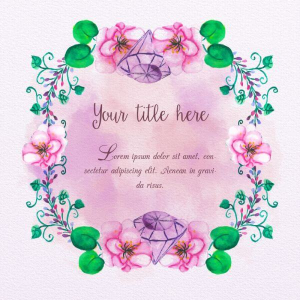Watercolor frame with diamonds vector