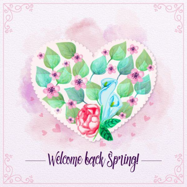 Watercolor love floral card vector