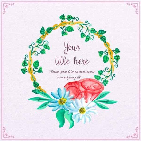 Watercolor frame with diamons vector