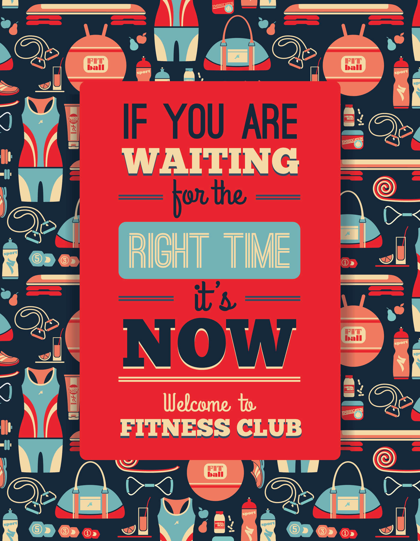 "Free vector ""Poster with fitness Icons. Vector illustration"""