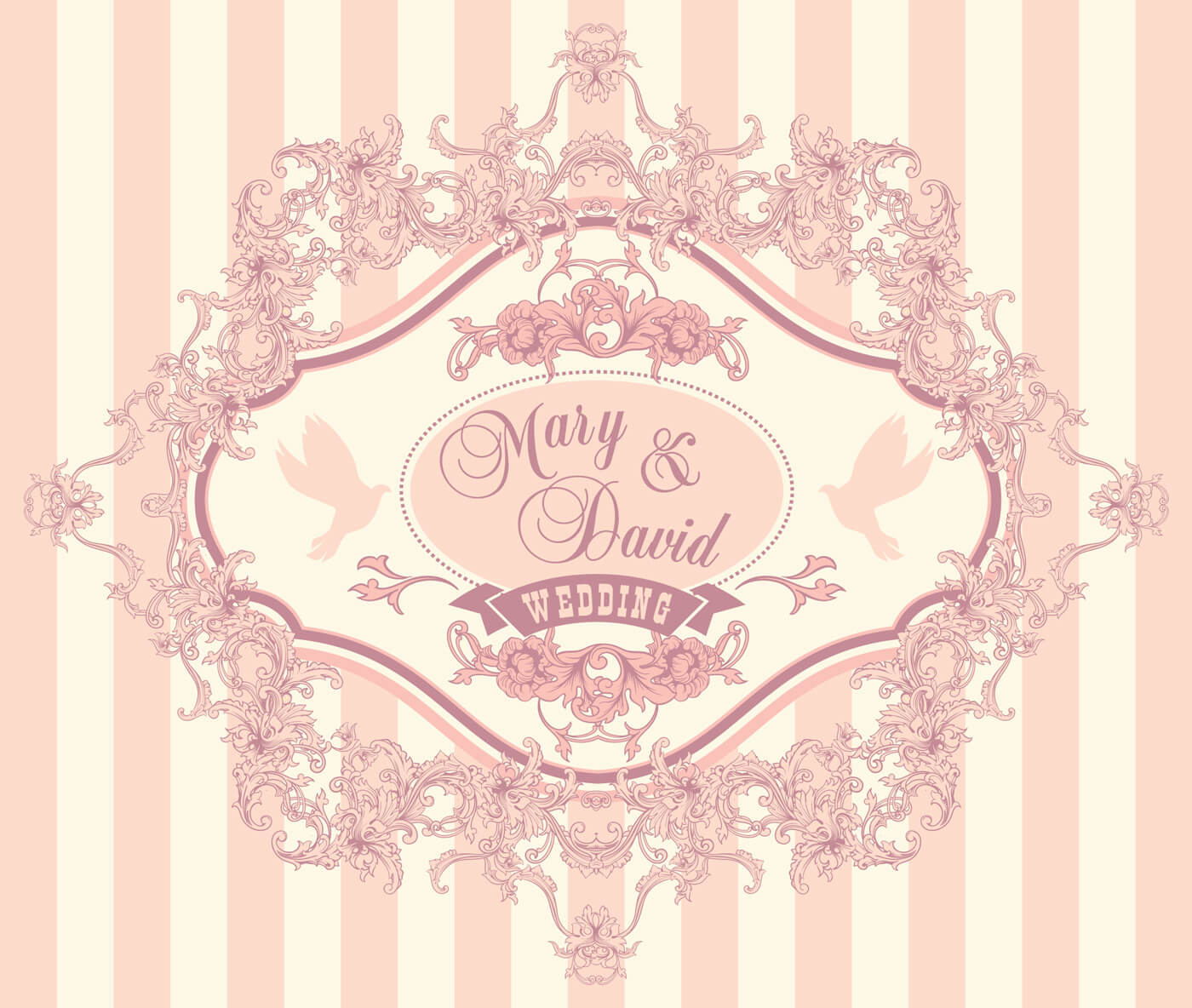 "Free vector ""Wedding invitation cards with floral elements. Vector illustration."""