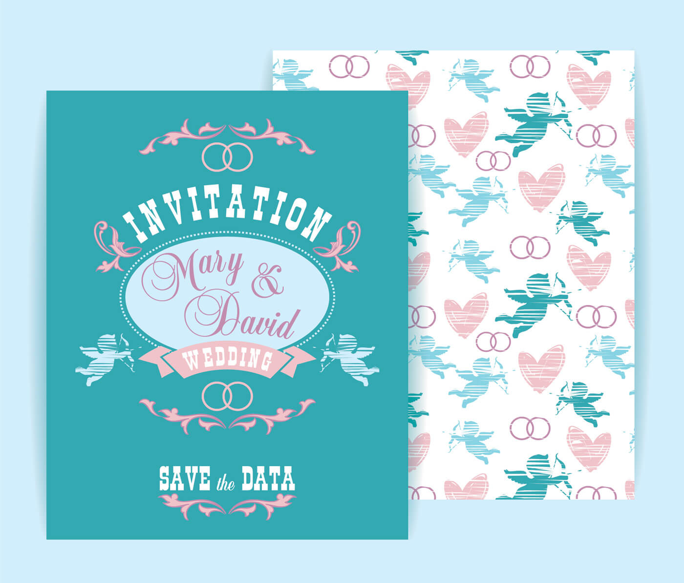 Free vector Wedding invitation Vector illustration