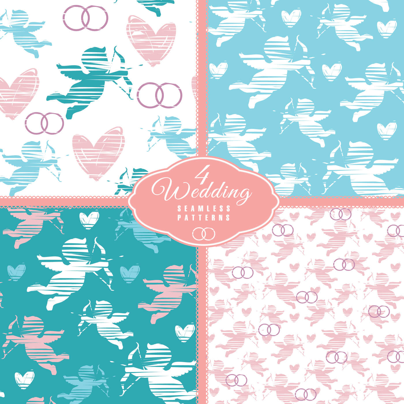 "Free vector ""Wedding seamless pattern with angel. Vector illustration."""