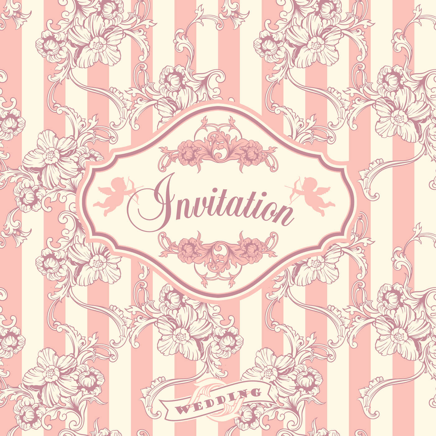 """Free vector """"Wedding invitation cards with floral elements. Vector illustration."""""""