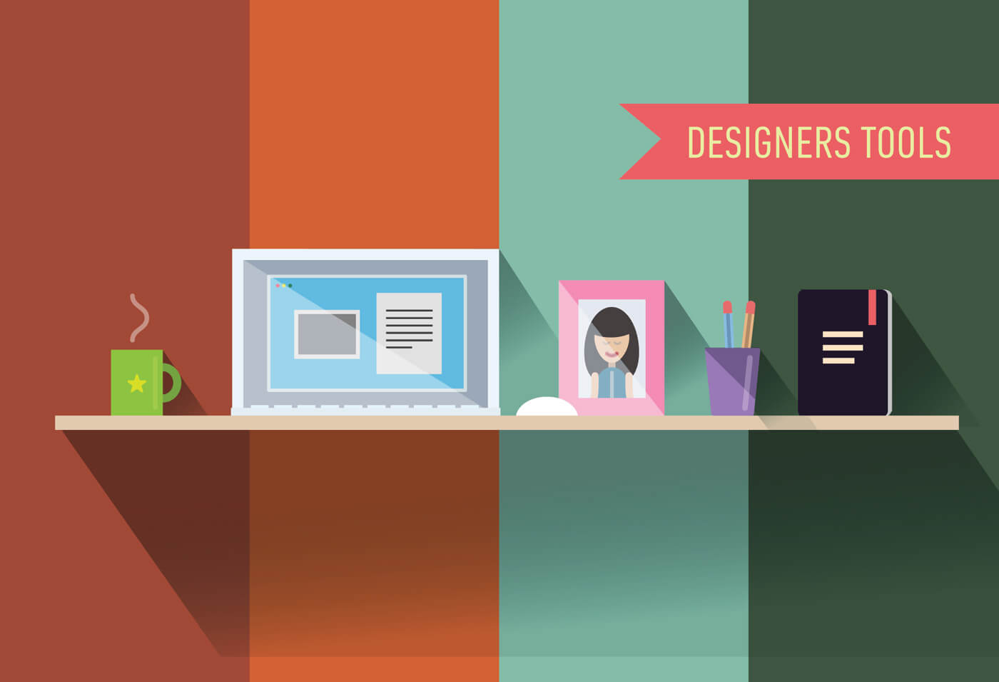 "Free vector ""Designers table with tools. Vector illustration"""