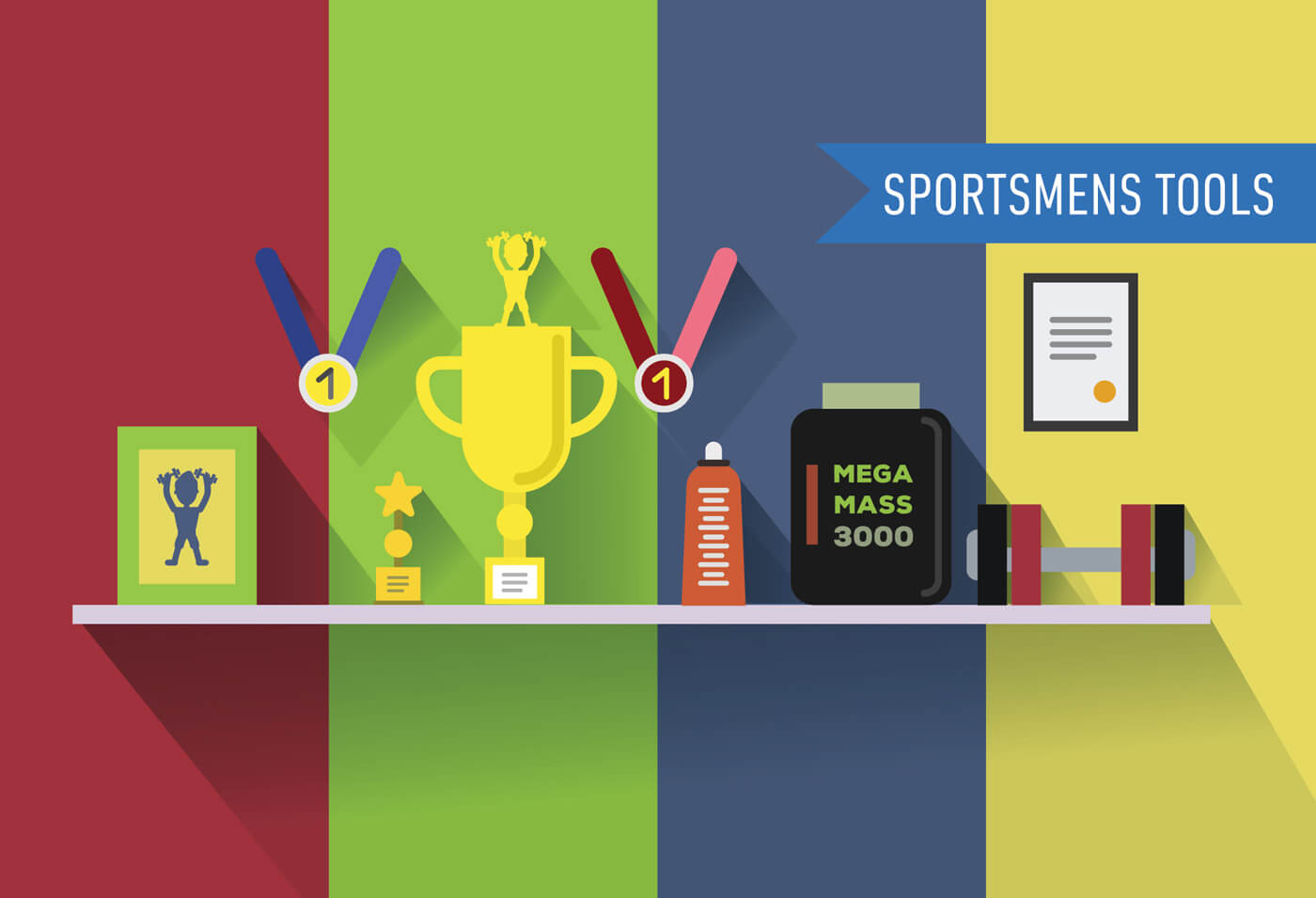 """Free vector """"Sportsmens table with tools. Vector illustration"""""""