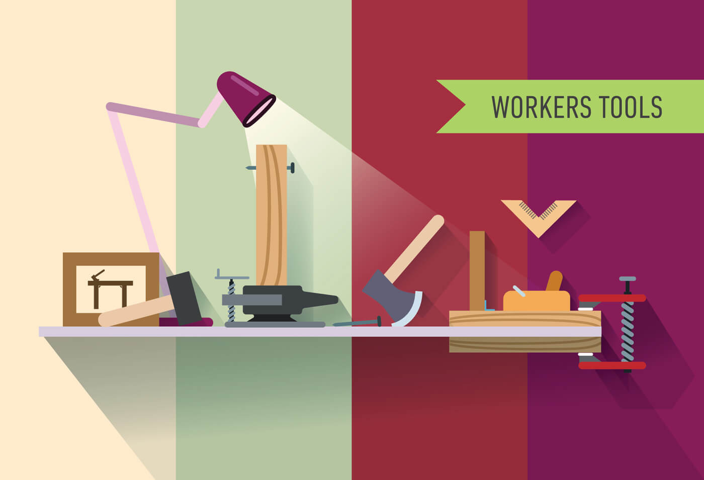 """Free vector """"Tools objects on the table. Vector illustration for design"""""""