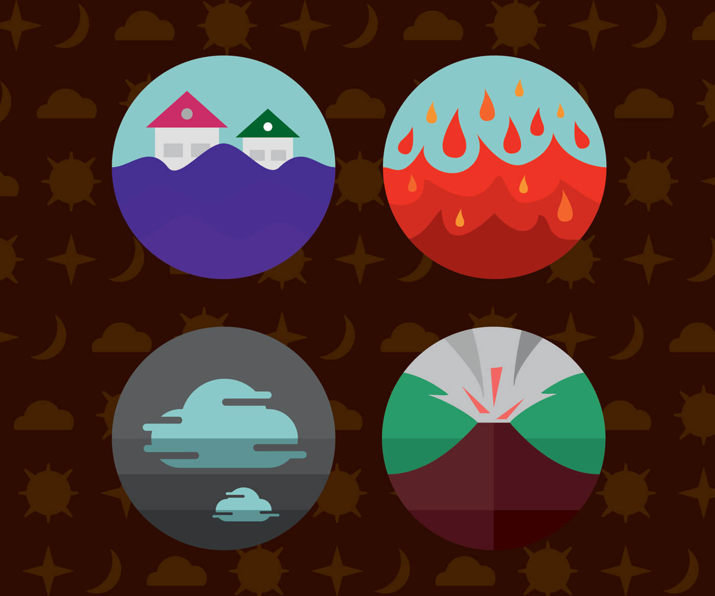 "Free vector ""Weather icons. Vector illustration."""