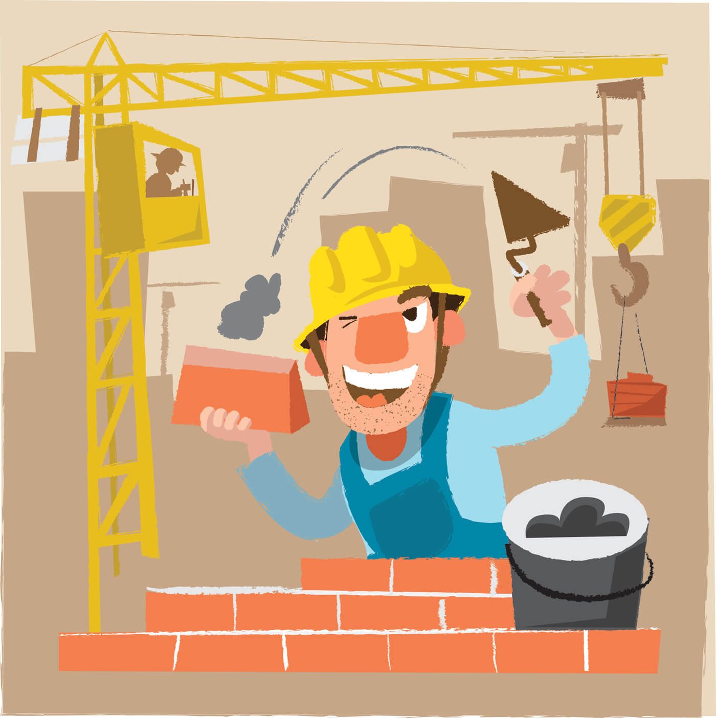 "Free vector ""Builder man character. Vector illustration"""