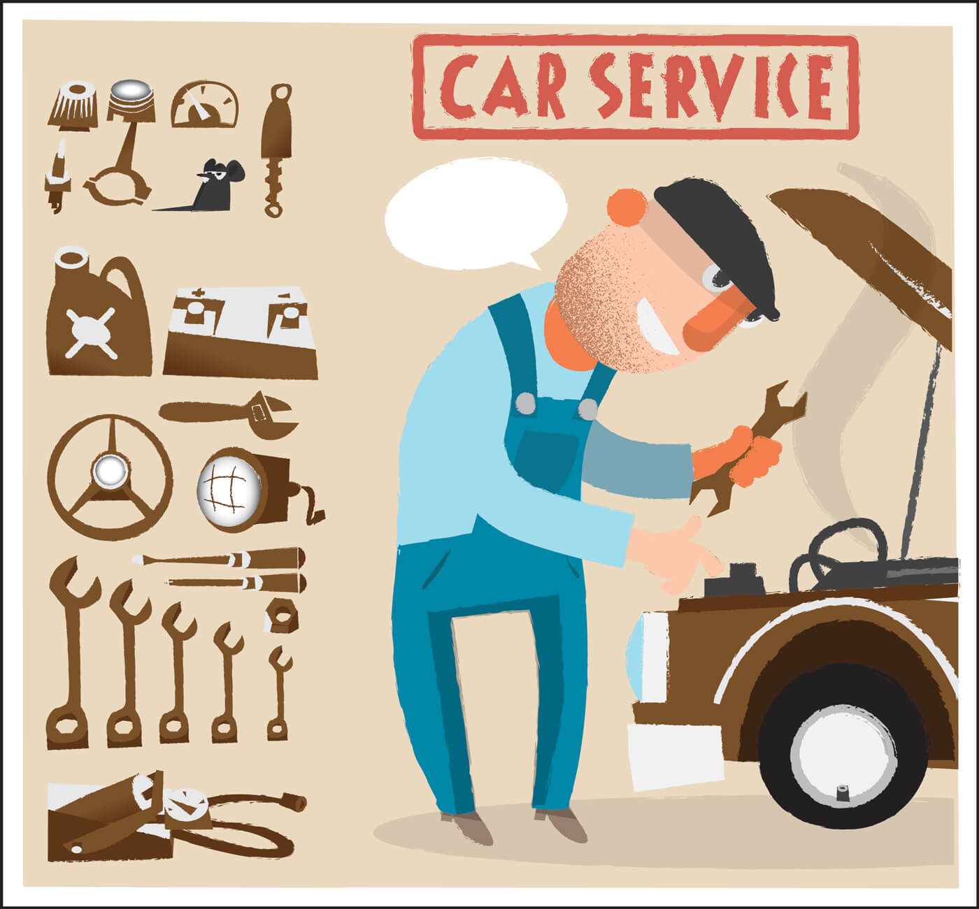 "Free vector ""Car service man with tools. Vector illustration"""