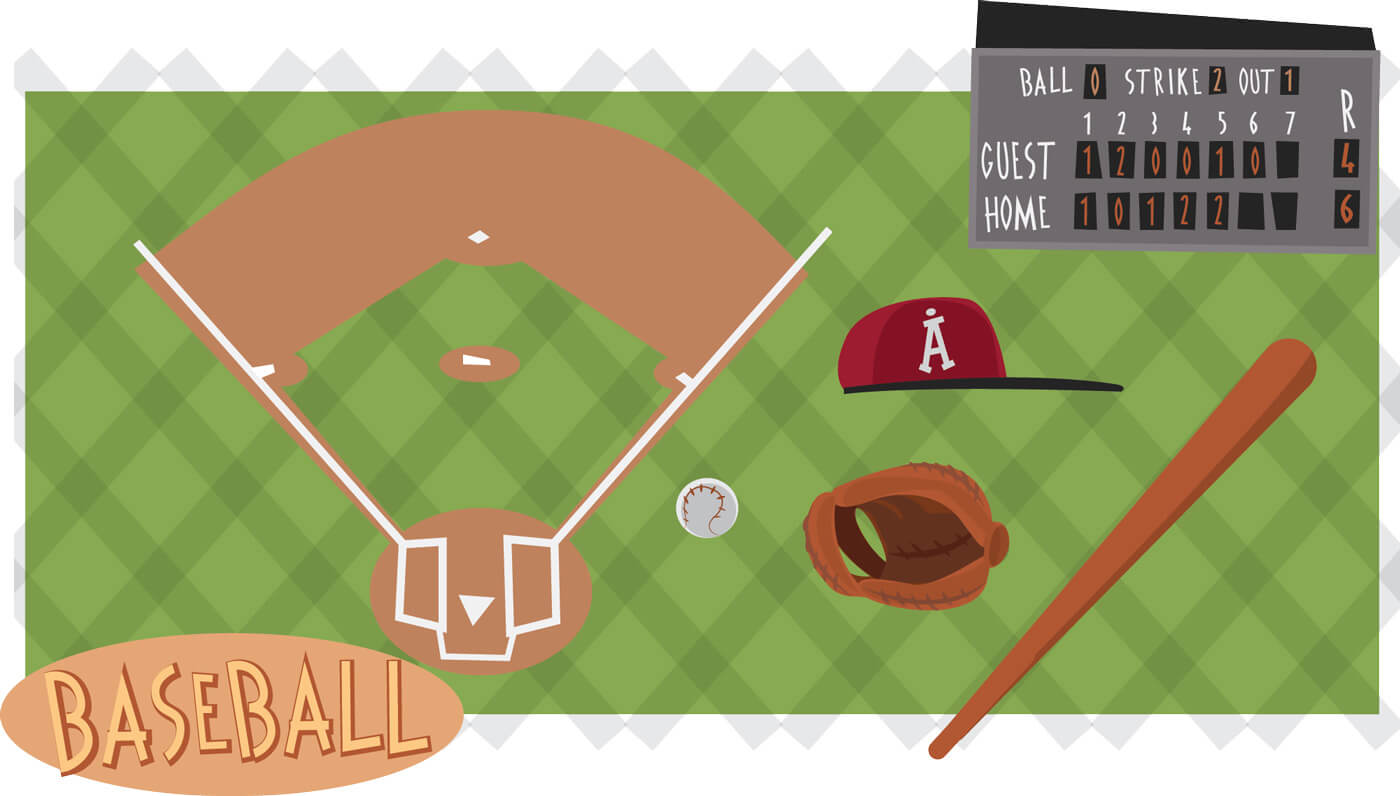 "Free vector ""Baseball game characters and objects. Vector illustration"""