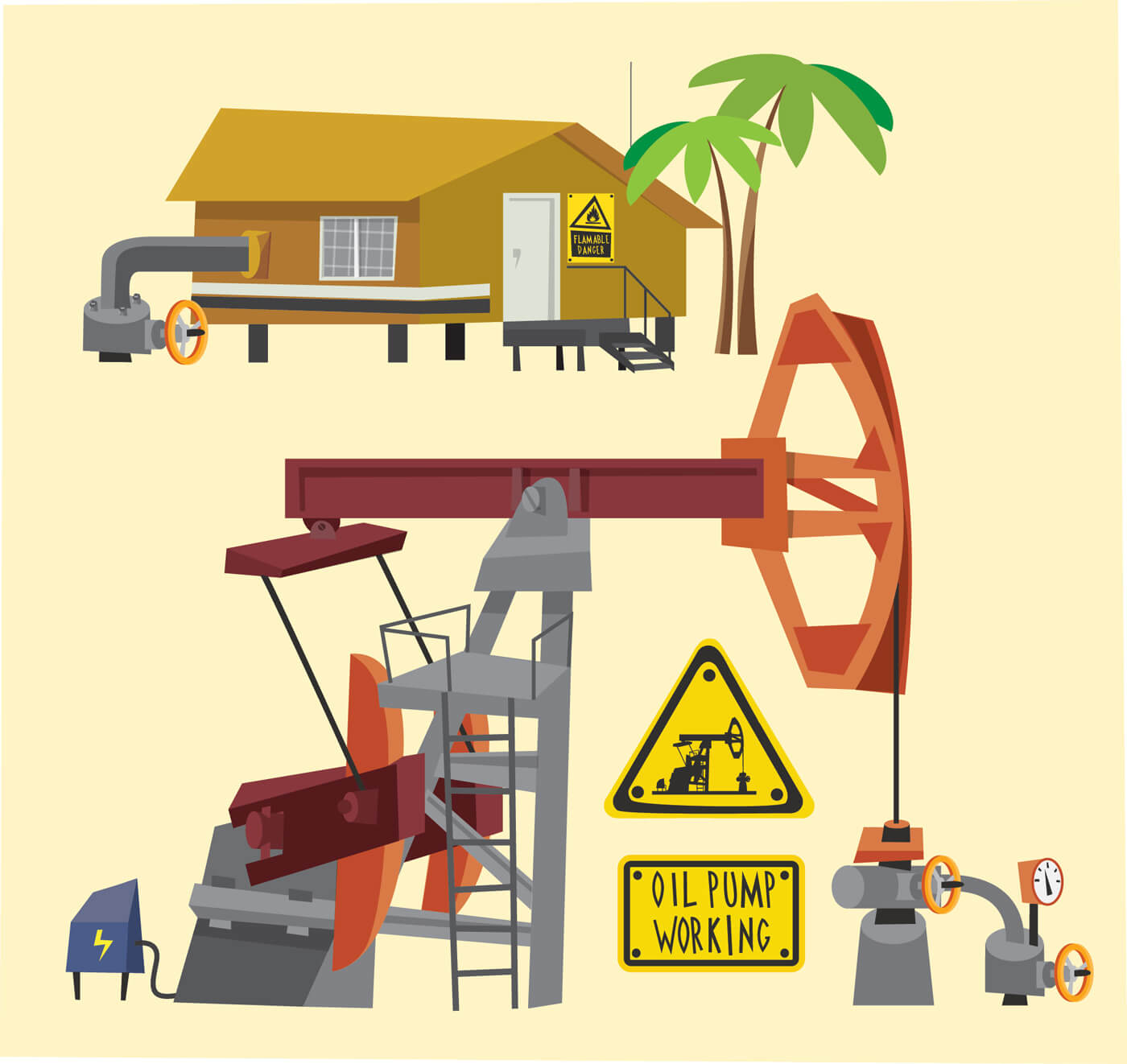 "Free vector ""Oil objects landscape and equipment. Vector illustration"""