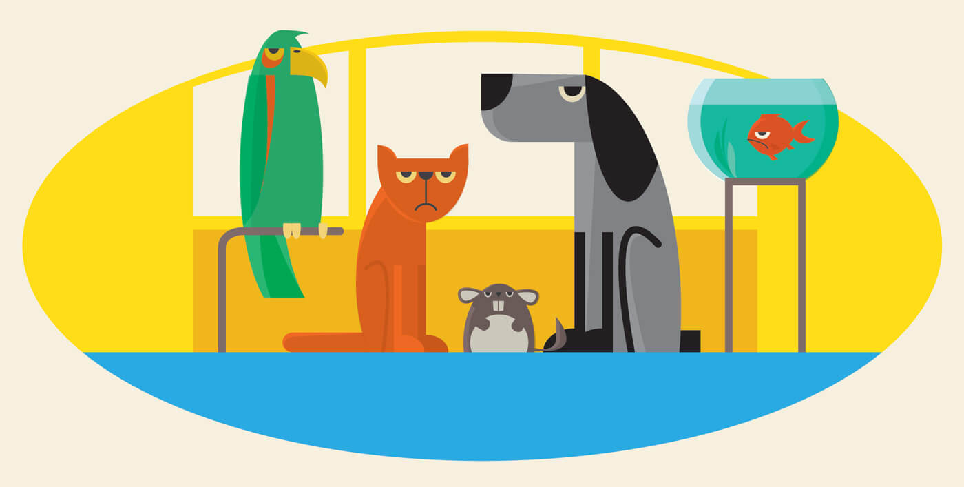 """Free vector """"Characters farm pets vector illustration for design"""""""