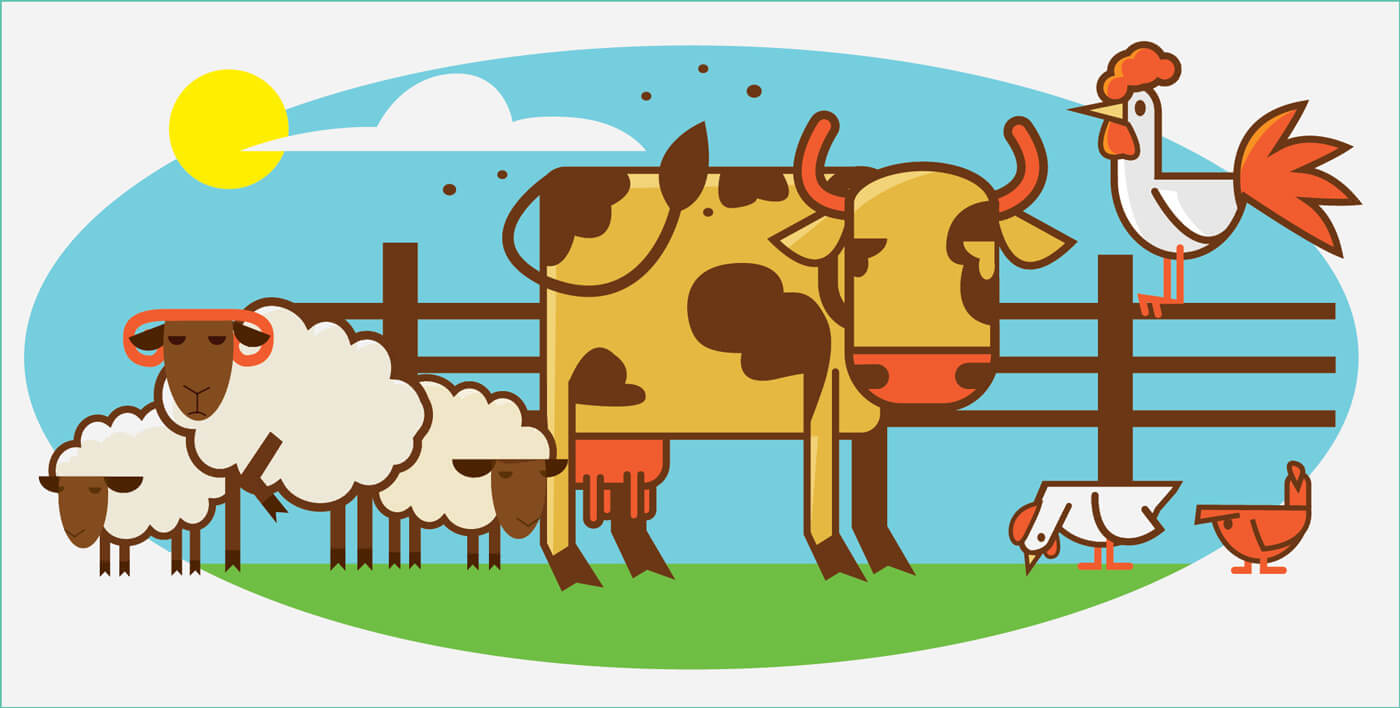 "Free vector ""Characters farm pets vector illustration for design"""