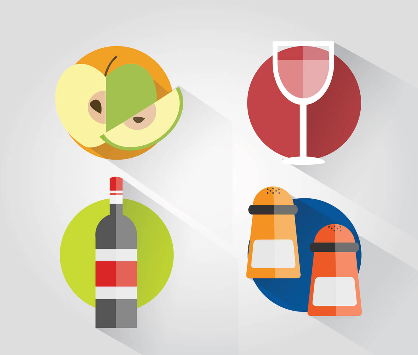 """Free vector """"Food objects for design. Vector illustrations"""""""
