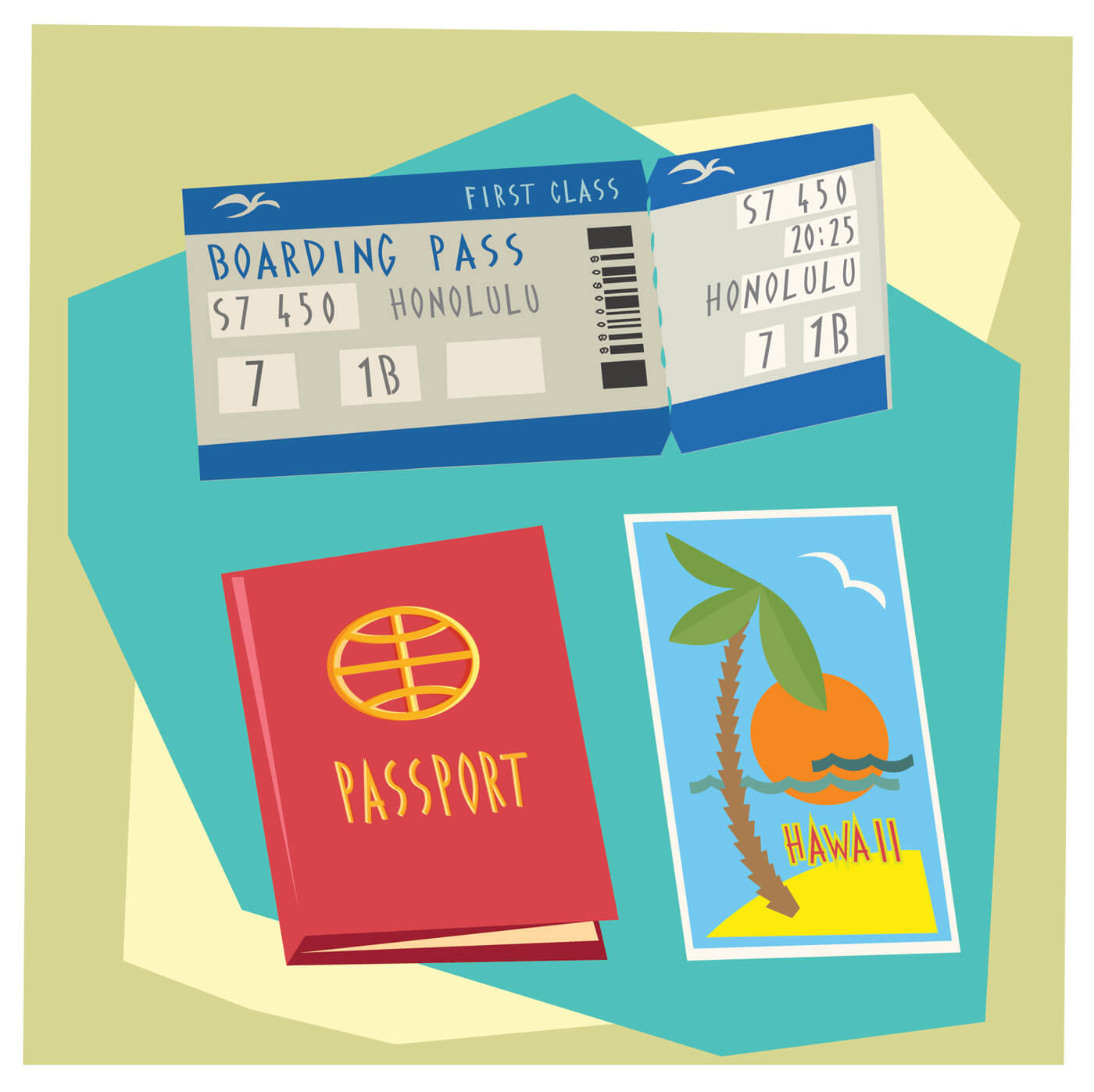"""Free vector """"Travel cartoon objects vector illustration for design"""""""