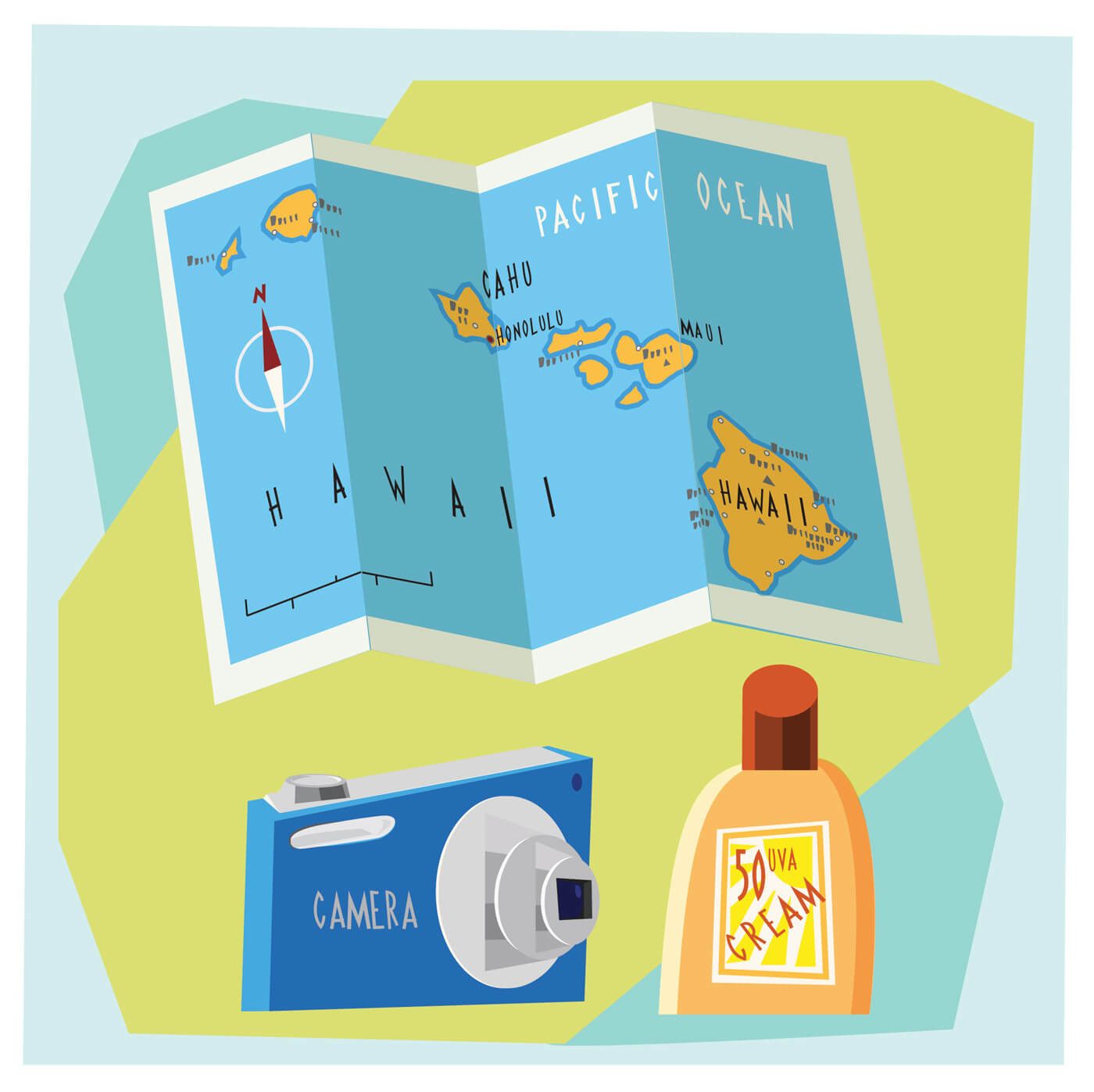 "Free vector ""Travel cartoon objects vector illustration for design"""