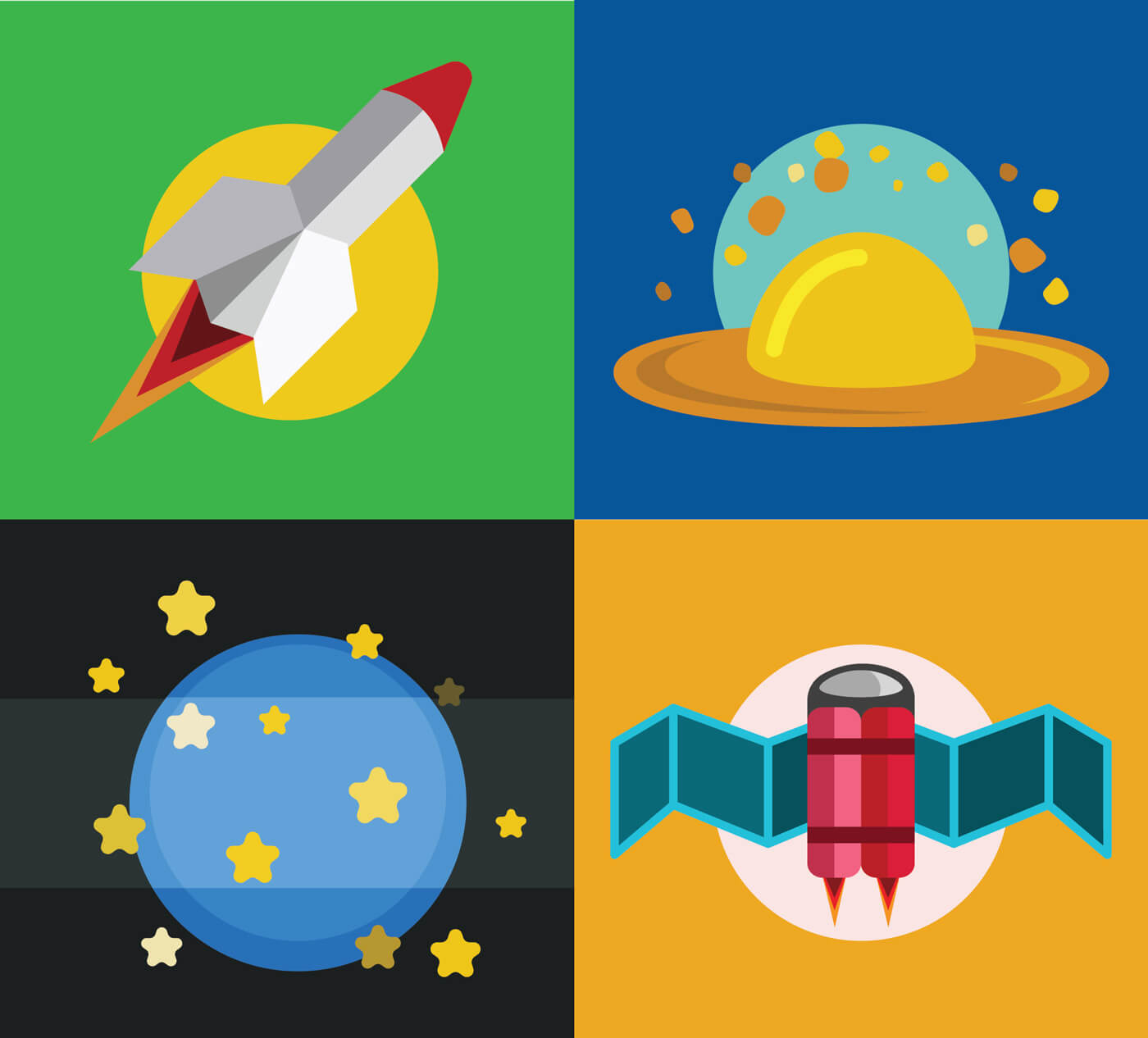 "Free vector ""Collection of spaceships and planets, space vector illustration"""