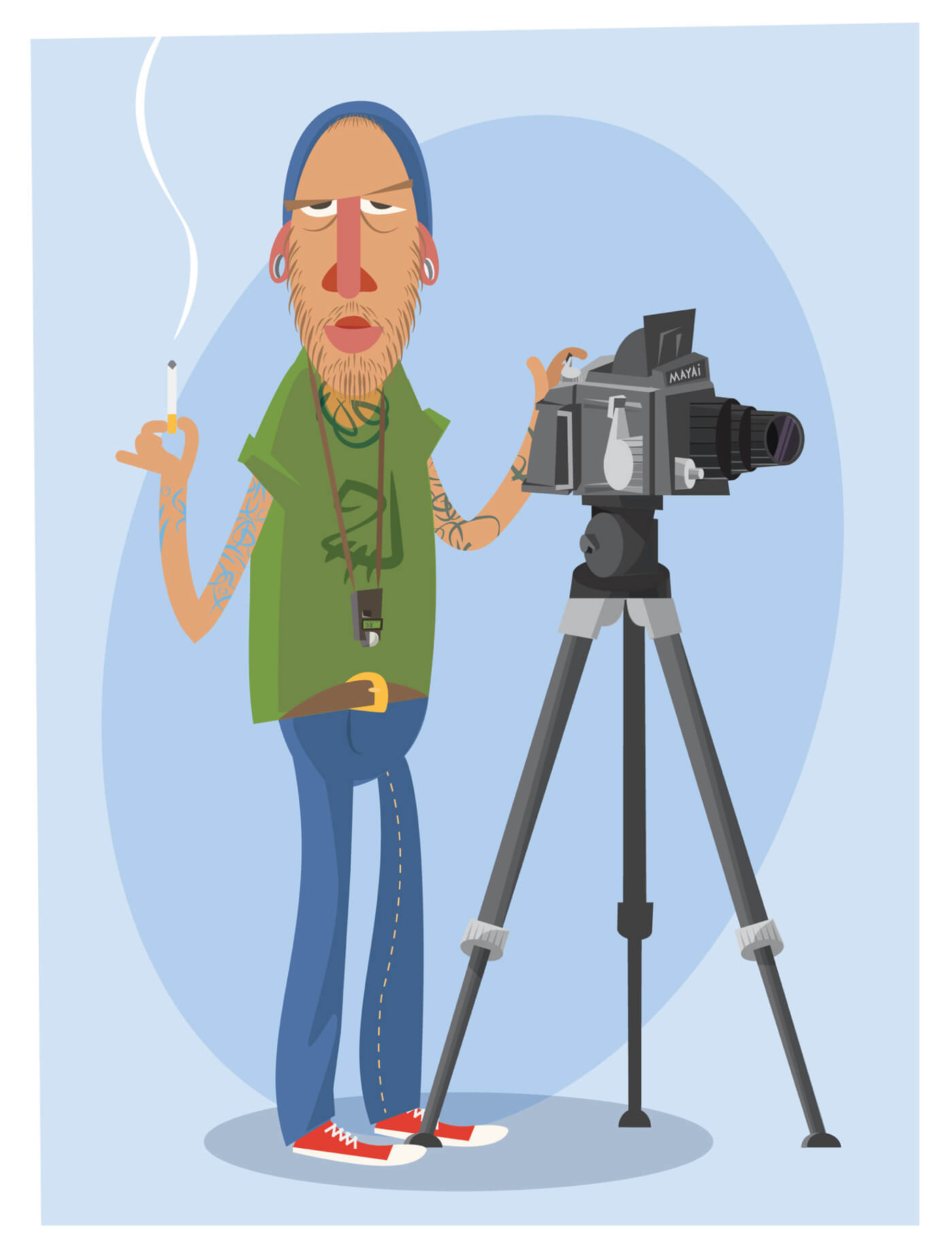 "Free vector ""Photographer with equipment at work. Vector illustration"""