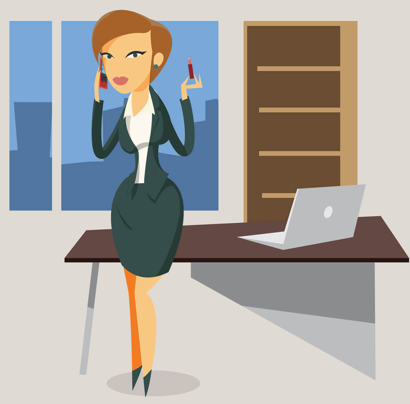 "Free vector ""Business woman objects vector illustration for design"""