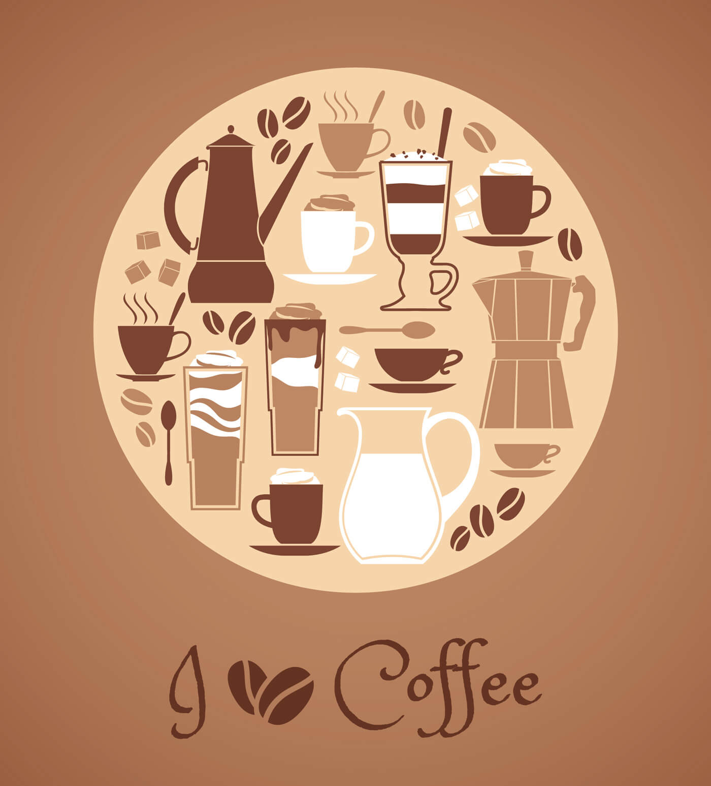 "Free vector ""Vector illustration of coffee design elements."""